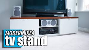 home theater tv cabinets ikea byas tv stand diy wood transformation hack youtube
