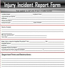 incident report form template word injury report form free