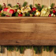 wooden background with gifts and decorations gallery