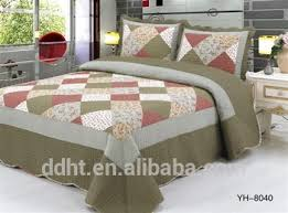 Army Bed Set Pink Army Green Flower Tartan Patchwork Quilts Patchwork