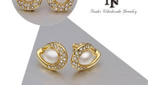 gold earrings tops pretty pearl handmade gold ear tops designs for lkn18krgpe498