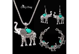 tibetan silver turquoise necklace images Women 39 s retro tibetan silver turquoise elephant pendant necklace jpg