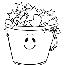 smiling bucket stars coloring pages place color
