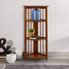 cherry wood corner bookcase amazon com casual home 315 15 4 shelf corner folding bookcase