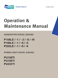operation and maintenance manual p158le p180le p222le daewoo