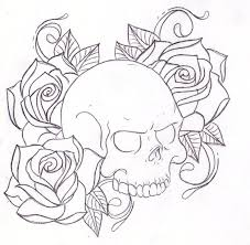 collection of 25 outline skull roses and pistol designs