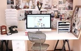 clever desk ideas office design a colorful boho craft room home office with tons