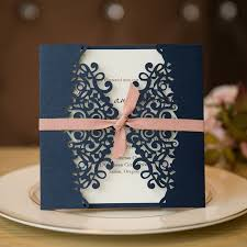 wedding invitations blue formal navy blue laser cut wedding invitation cards with band