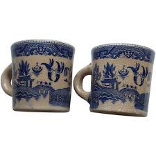 two blue willow marked japan coffee mugs from rarefinds on ruby lane