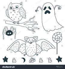 happy halloween illustrations ghost owl star stock vector