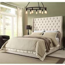 dark gray tall tufted headboard med art home design posters