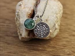emerald heart necklace images Emerald sacred geometry heart chakra necklace thedharmashop jpeg