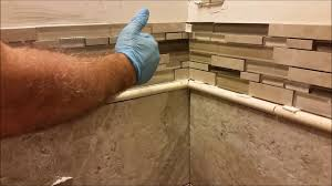 How To Lay Tile In Bathroom by How To Install Glass Mosaic Tile In Bathroom Shower Part 4