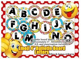 themed letters emoji themed 4 inch circular bulletin board letters by and