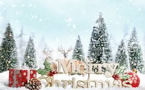 merry christmas sign decoration snow desktop wallpaper