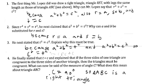 converse of the pythagorean theorem students are asked to explain