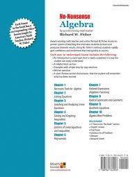 no nonsense algebra part of the mastering essential math skills