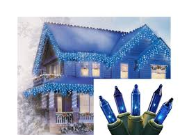 set of 100 blue mini icicle lights green wire