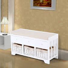 Storage Bench With Baskets Homcom Wooden Storage Unit Bench Seat Cabinet 3 Drawers Baskets