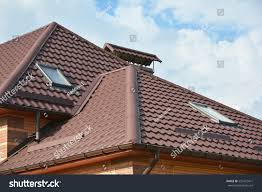 modern house roofing construction attic skylights stock photo
