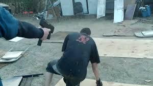 ayw backyard wrestling ryanlonestar shoots yung rolo with a bb