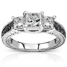 white and black diamond engagement rings annello 14k white gold 1 3 8ct tdw black and white 3 diamond