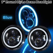 jeep wrangler blue headlights 7inch led headlight with blue halo for jeep wrangler tj yj omotor