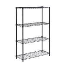 Metal Storage Shelves Hdx 4 Shelf 14 In D X 22 In W X 52 In H White Plastic Storage