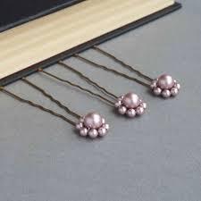 pearl hair pins dusky pink pearl flower hair pins king jewellery