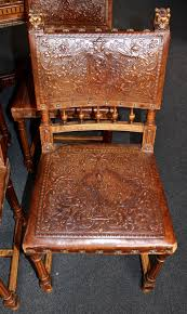 Orange Leather Chair Set Of Six Renaissance Style Embossed Leather Chairs For Sale At