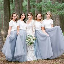 bridesmaid dresses sleeve white top light grey tulle skirt popular bridesmaid