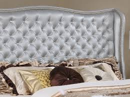 glimmer silver leather bed crystal tufted