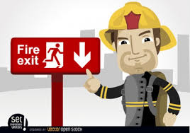 cartoon fireman exit sign vector free download
