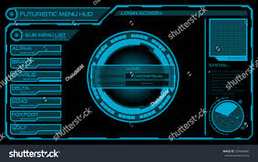 futuristic login menu screen hud interface stock vector 330496880
