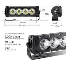 10 inch 40w led light bar spot flood combo 6 000 lumens cree led