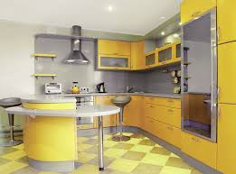 modern yellow kitchen dazzling yellow kitchen with checkerboard tiles and modern
