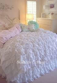 Ruffle Bedding Set Shabby Cottage Chic Layers Of Dreamy White Ruffles Comforter Set