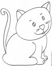 coloriage du petit chat assis tête à modeler