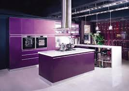 Apartment Kitchen Cabinets by Small Apartment Kitchen With Purple Back Splash And Stools