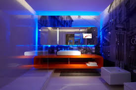 cool blue led lighting for bathroom design with awesome wall