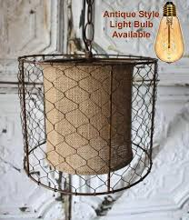 Ceiling Lamp Plug In by Chicken Wire Burlap Rustic Swag Lamp Plug In Or Direct Wire
