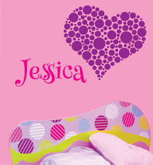 Nursery Name Wall Decals by Jessica Heart Dots Decal Children Personalized Name Monogram Wall
