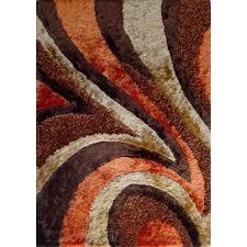 Brown Shag Area Rug by Shaggy Viscose Vibrant Swirl Design Hand Tufted Shag Area Rug
