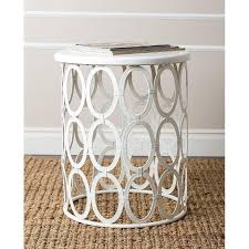 modern round end table boese round white gold feet end table