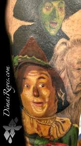 color wizard of oz scarecrow tattoo by dimas reyes tattoos