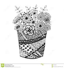 vase with doodling hand drawn flowers and patterns stock vector