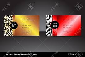 fancy business card templates with leopard and zebra prints with