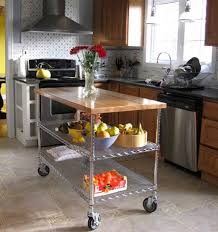 kitchen unique cart design of diy kitchen island in silver wheels