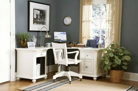 u shaped desk and long white stained wooden home office table with