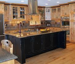 brown kitchen color with natural wood color and black kitchen